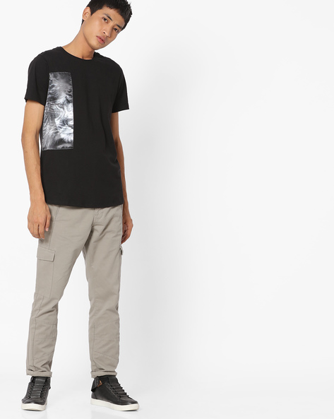 Crew-Neck T-shirt With Printed Patch By AJIO ( Black )
