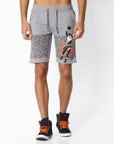 Regular Fit Graphic Print Knitted Shorts By TEAM SPIRIT ( Greymelange )