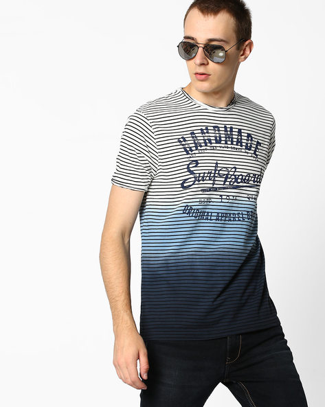 Striped Ombre-Dyed T-shirt By Teamspirit ( Blue )