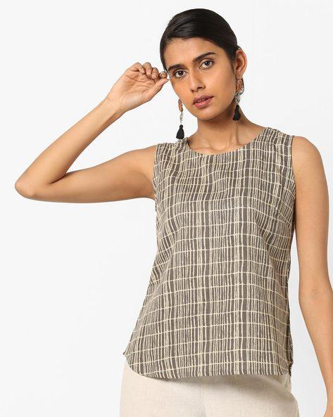 Printed Sleeveless Tunic By AJIO ( Grey )