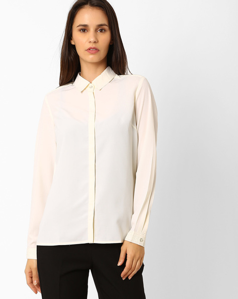 Shirt With Concealed Button Placket By Wills Lifestyle ( White )