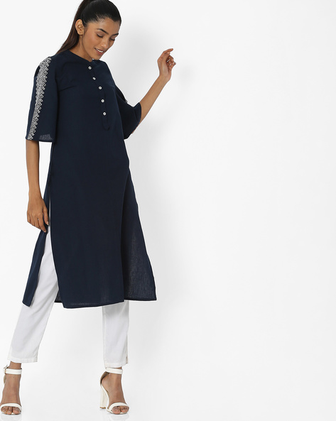 Kurta With Embroidered Bell Sleeves By AVAASA WORKWEAR ( Navy )