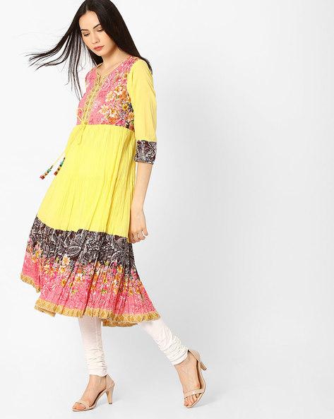 Anarkali Kurta With Contrast Yoke By Rain & Rainbow ( Yellow )