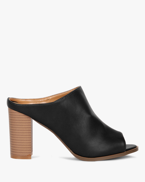 Peep-Toe Mules With Stacked Heel By AJIO ( Black )