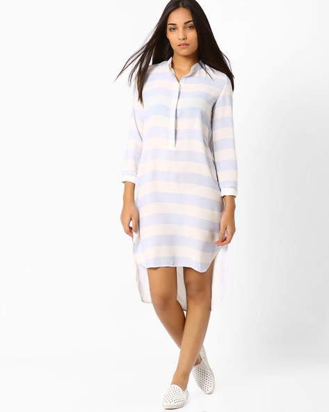 Striped High-Low Tunic By CHEMISTRY ( Lightblue )