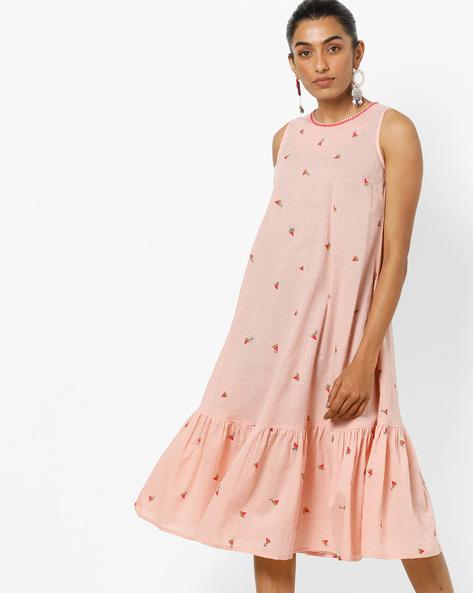 Printed A-line Dress With Pleated Hemline By AJIO ( Mauve )