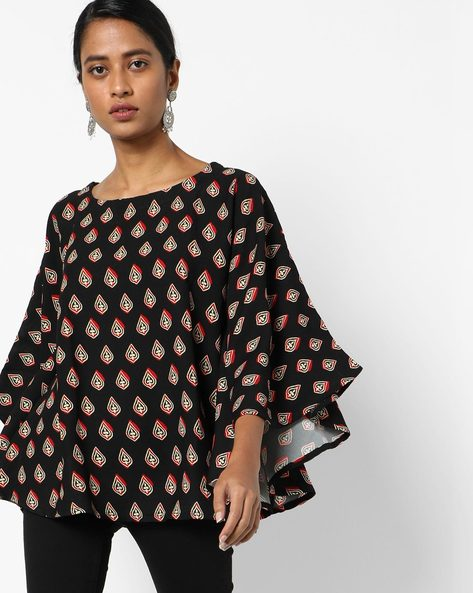 Floral Top With Kimono Sleeves By Project Eve IW Fusion ( Black )