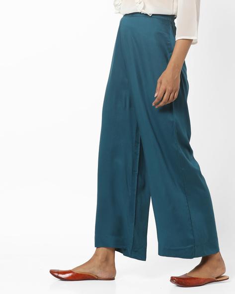 Ankle-Length Wide-Leg Pants By AURELIA ( Blue )
