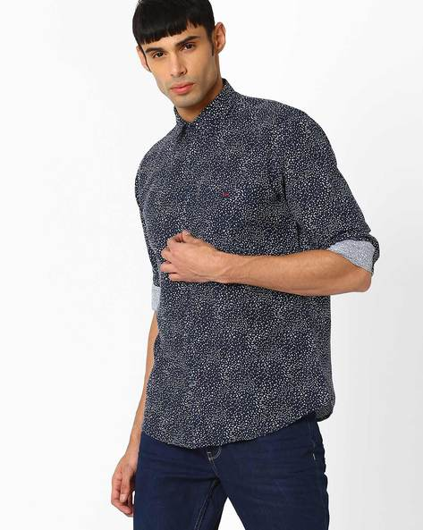 Printed Slim Fit Shirt By CRIMSOUNE CLUB ( Blue )
