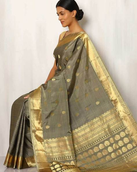 Handwoven Buti Pure Silk Saree With Zari Border By Rudrakaashe-MSU ( Grey )