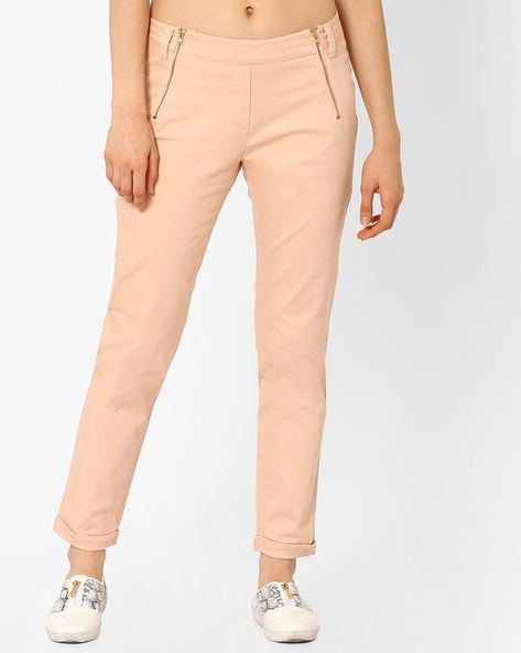 Low-Rise Ankle-Length Trousers By AJIO ( Lightpink )