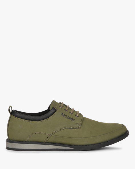 Lace-Up Leather Casual Shoes By RED CHIEF ( Green )