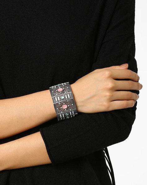 Cuff Bracelet With Cut-Work By AJIO ( Silver )