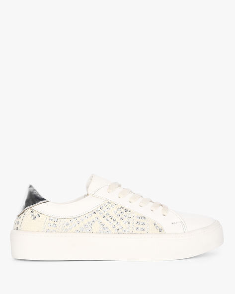 Embellished Low-Top Lace-Up Sneakers By AJIO ( White )