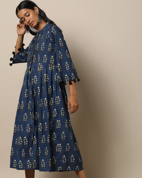 Printed Cotton Pleated Long Dress With Pintucks By Seasons ( Blue )
