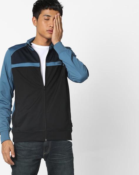 Colourblock Zip-Front Sweatshirt By Jack & Jones ( Blue )