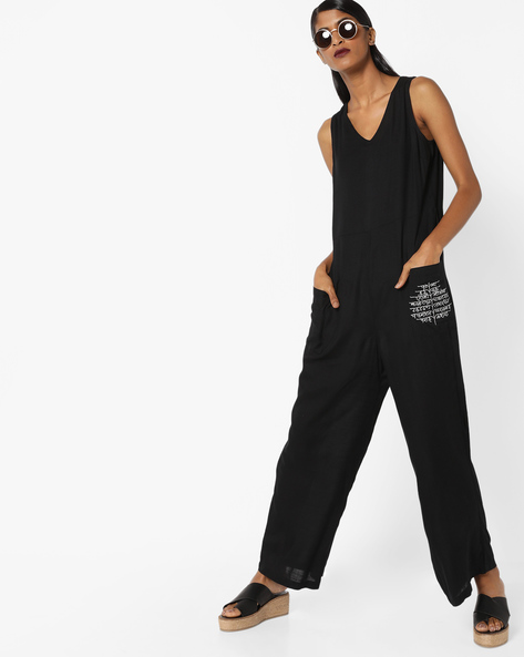 Jumpsuit With Patch Pockets By AJIO ( Black )