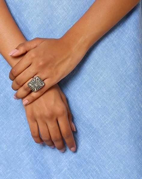 Oxidised Metal Statement Ring By Indie Picks ( Silver ) - 460046713001