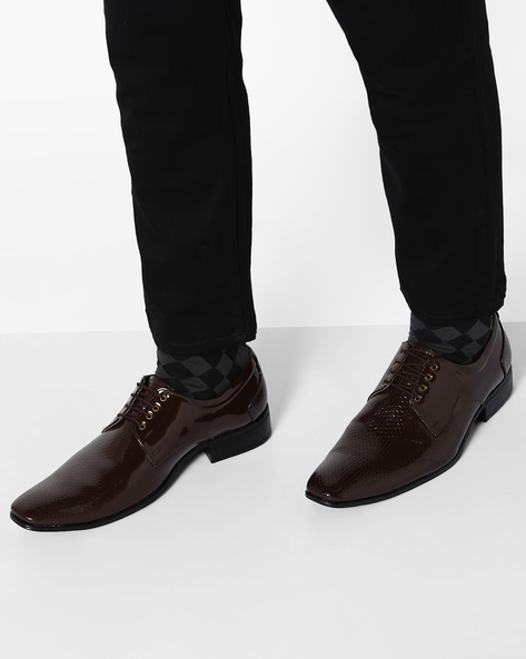 Textured Formal Shoes By Modello Domani ( Brown )