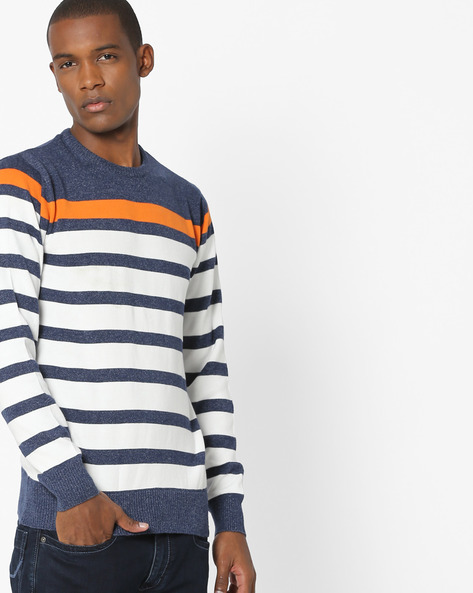 Striped Crew-Neck Sweater By Teamspirit ( White )