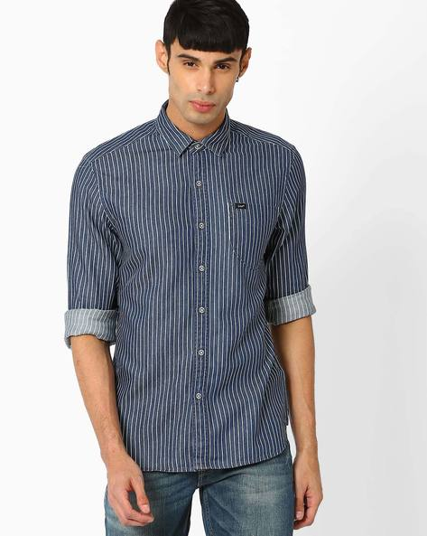 Slim Fit Shirt With Twill Stripes By Lee ( Indigo )