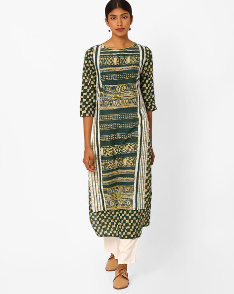 Printed Kurta With Pants By Jaipur Kurti ( Green )
