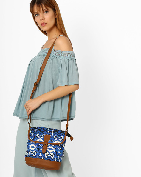 Canvas Sling Bag By Kanvas Katha ( Blue )