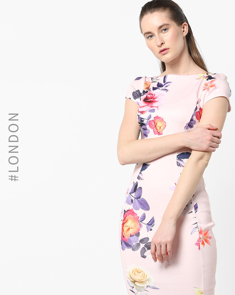 Floral Print Bodycon Dress By Closet London ( Multi )
