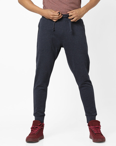 Mid-Rise Joggers With Drawstring Fastening By AJIO ( Navy )