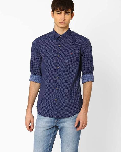 Grayson Sport Slim Fit Shirt By Wills Lifestyle ( Blue )