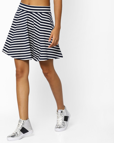 Striped A-line Skirt With Pleats By Ginger By Lifestyle ( Offwhite )