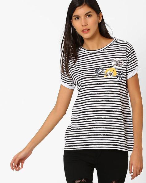 Striped Crew-Neck T-shirt By Pepe Jeans ( White )