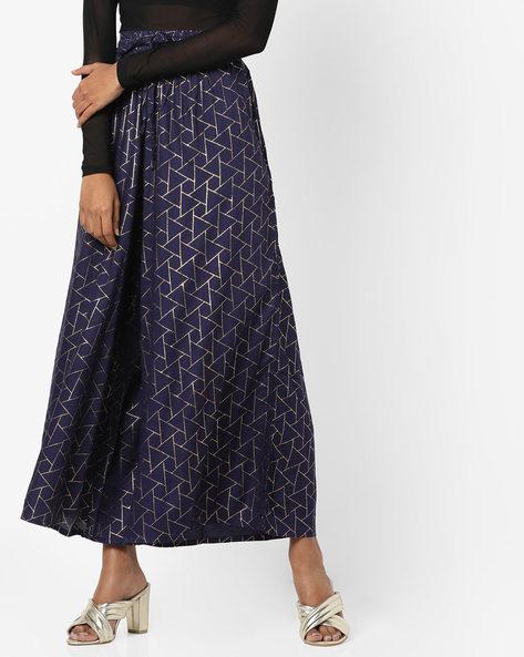 Geometric Print Maxi Skirt By Rangmanch By Pantaloons ( Navy )