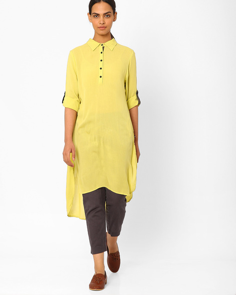 High-Low Kurta With Roll-Up Tabs By Juniper ( Limegreen )