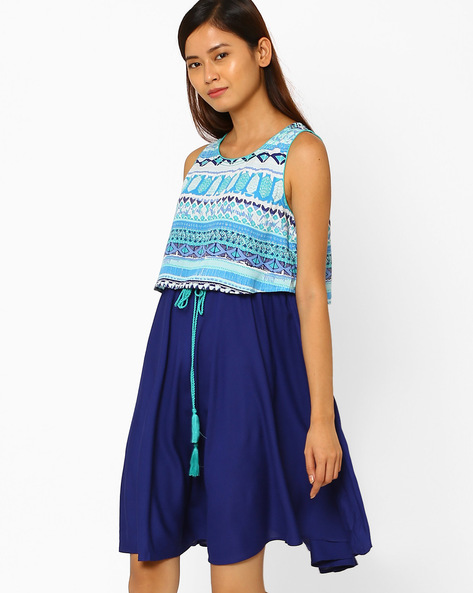 Printed Layered Dress By AJIO ( Blue )