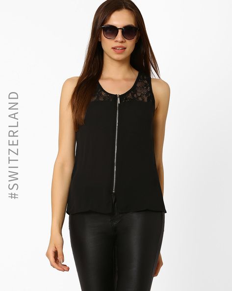 Sleeveless Top With Lace Detail By TALLY WEiJL ( Black )