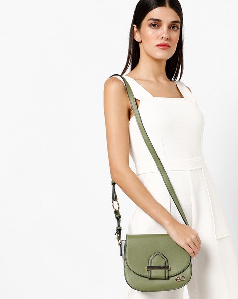 Panelled Sling Bag With Adjustable Strap By E2O ( Green )