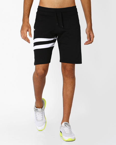 Cotton Shorts With Cut & Sew Panels By Garcon ( Black )