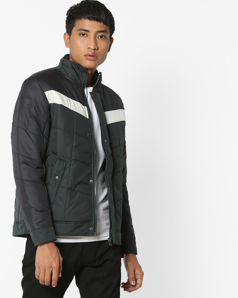 Quilted Jacket With Front-Zipper By Fort Collins ( Green )