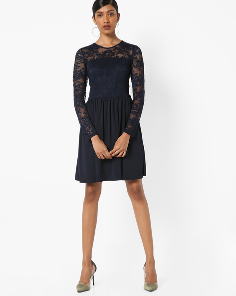 Fit & Flare Dress With Lace Sleeves By Only ( Darkblue )