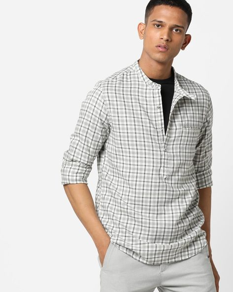 Checked Shirt With Band Collar By AJIO ( White )
