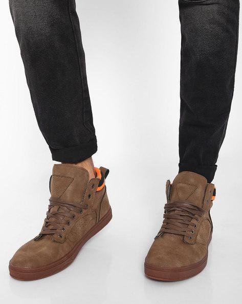 N9-Treated High-Top Sneakers By AJIO ( Brown )