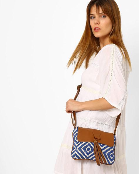 Jacquard Sling Bag By Kanvas Katha ( Blue ) - 460066528002
