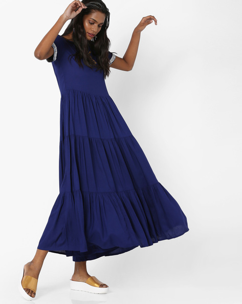 Panelled Maxi Dress By AJIO ( Blue )