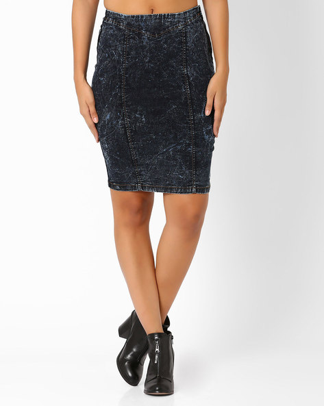 Denim Pencil Skirt By AJIO ( Blue )