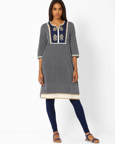 Printed Straight Fit Kurta By AJIO ( Blue )