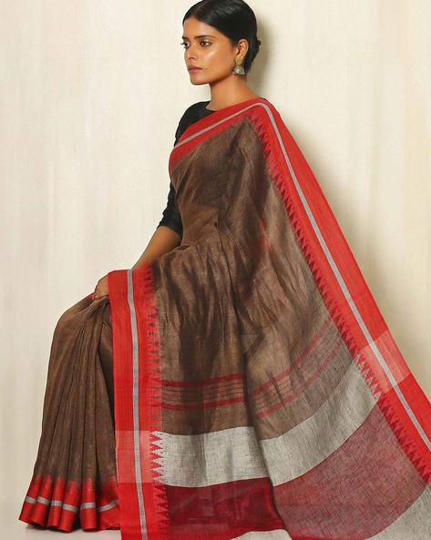 Handwoven Linen Saree With Cotton Contrast Border By Indie Picks ( Rust )