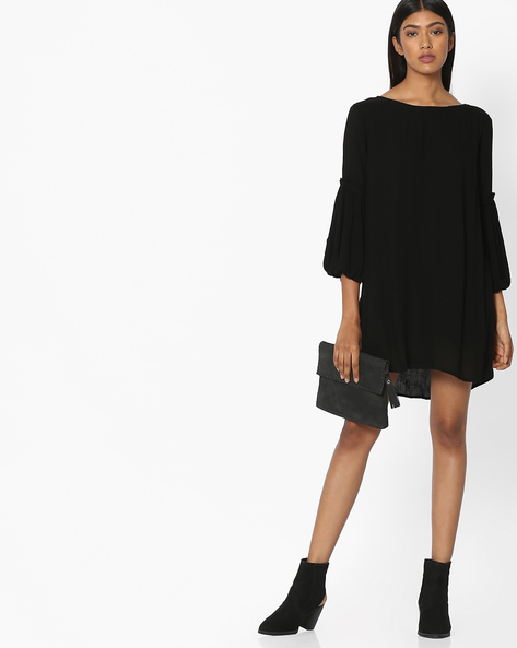 Boat-Neck Shift Dress With Bishop Sleeves By Pink Woman ( Black )