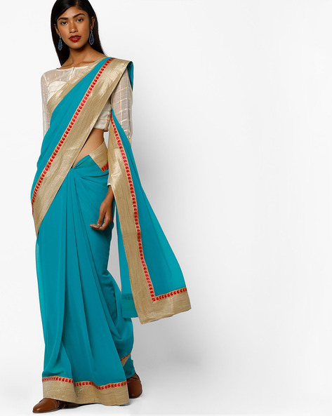 Georgette Saree With Embroidery By Majestic Silk ( Lightblue )