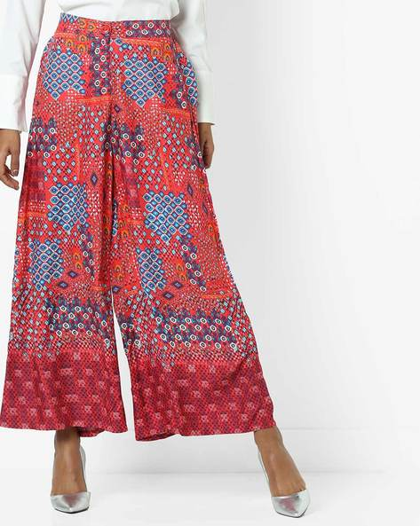 Geometric Print Palazzos By Global Desi ( Red )